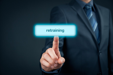 retraining: Retraining for a new career. Retraining increase chance on labour market. Stock Photo