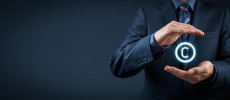 schutz: Schutz des geistigen Eigentums Recht und Rechte, Urheberrechte und Patente Konzept. Schützen Sie Geschäftsideen und Konzepte Headhunter. Weit Banner Komposition.