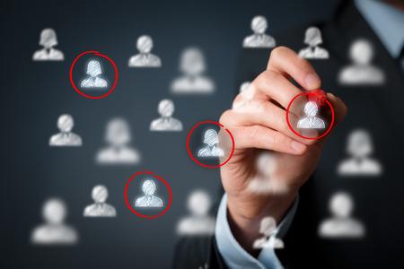 Public cible, segmentation marketing, les clients se soucient, marché du travail, la gestion de la relation client (CRM) et les concepts de team building.