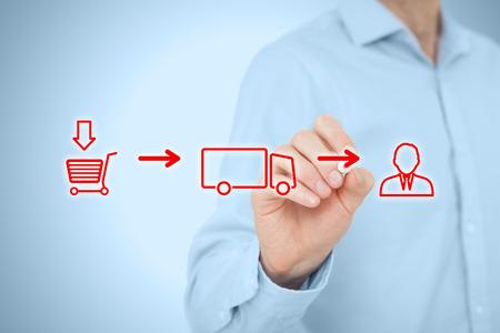 in chains: Logística concepto de cadena. De compra del cliente (compra) más el transporte (entrega, carga) con el esquema de cliente. Foto de archivo