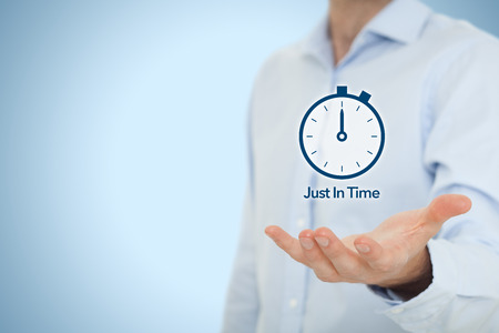 just in time: Just in time (JIT) demand (pull) driven inventory system. Stock Photo