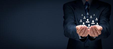 Kundenbetreuung, Betreuung von Mitarbeitern, Personalwesen, Lebensversicherung, Arbeitsagentur und Marketing Segmentierung Konzepte. Weit Banner Komposition. Standard-Bild - 40655990