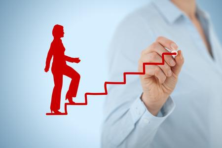 Persoonlijke ontwikkeling, persoonlijke en doorgroeimogelijkheden. Coach (human resources officer, supervisor) hulp vrouwelijke werknemer met zijn groei. Stockfoto