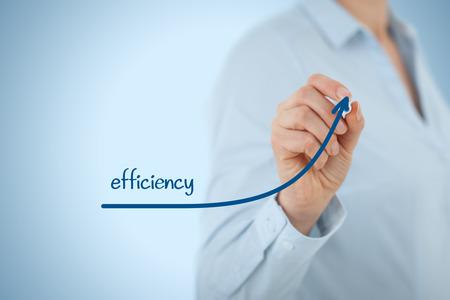 eficiencia: Manager (empresaria, entrenador, liderazgo) plan para aumentar la eficiencia.
