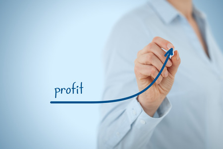 Increase profit concept. Businesswoman plan (predict) profit growth represented by graph.