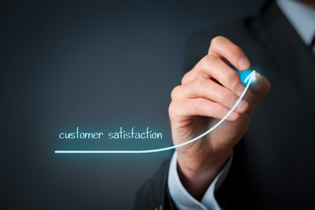 Increase customer satisfaction concept. Businessman (marketing specialist) draw growing line symbolize growing customer satisfaction. Imagens - 41086703