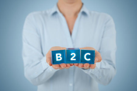 b2c: Business to consumer (B2C) concept. Businesswoman offer B2C solution represented by blue cubes.