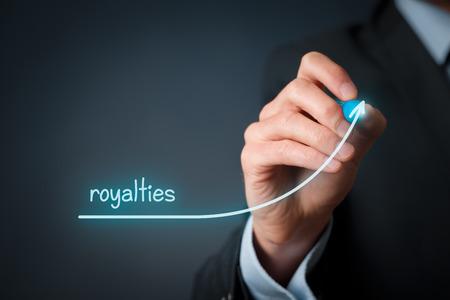 Increase royalties concept. Businessman plan (predict) royalties growth represented by graph.