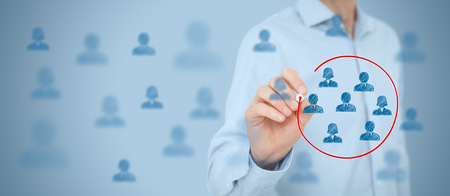 segmentation: Marketing segmentation, target audience, customers care, customer relationship management (CRM), customer analysis and focus group concepts. Wide banner composition.