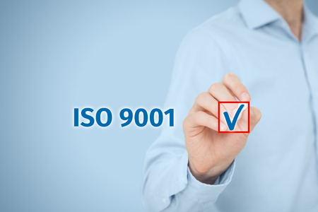 qualities: ISO 9001 - quality management system. Businessman select ISO 9001 certification.