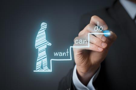 exito: Concepto de motivaci�n empresarial. Mentor dibujar tres pasos hacia el �xito. Foto de archivo