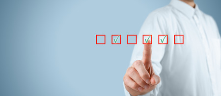 checkboxes: Multiple choices concept. Businessman click on multiple checkboxes.
