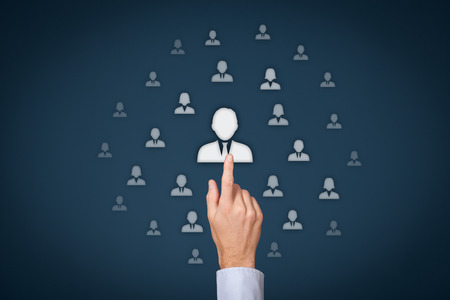leader: Human resources officer (HR) choose employee standing out of the crowd. Select team leader concept. Gender discrimination in employees selection.