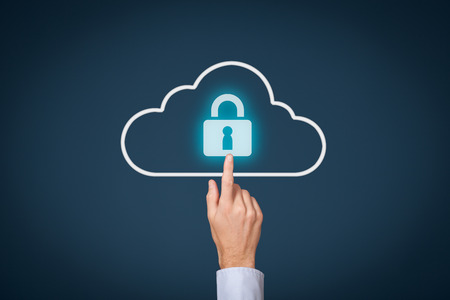 Cloud computing storage security concept. Safety data management specialist click on cloud computing data storage with padlock.
