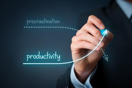 diagrama de procesos: La dilación vs. concurso de productividad. Mejore su productividad y detener la dilación.