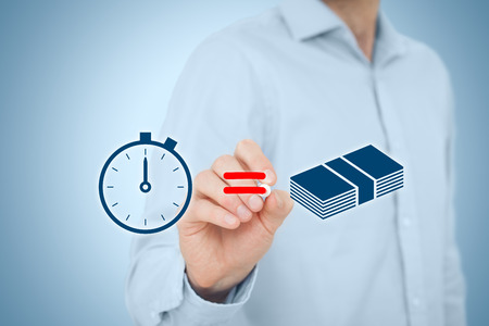 Time is money concept. Businessman draw simple image illustrating time is money concept. Standard-Bild