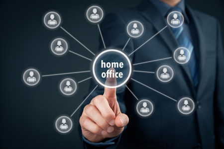 homeoffice: Home office (home-office) concept. Businessman click on home office button linked with employees working on notebooks.