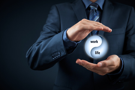 lives: Work life (work-life) balance concept. Life coach (career manager) give advice about work-life balance, wide composition.