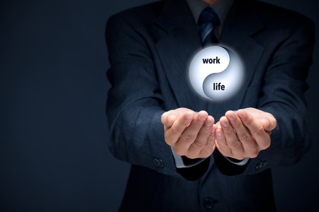 coaches: Work life (work-life) balance concept. Life coach (career manager) give advice about work-life balance, wide composition.