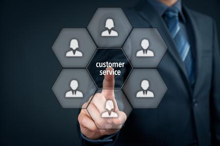 customer: Customer service concept. Manager click on virtual customer service button.