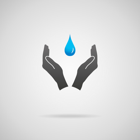 natural resources: Pure drinking water, environmental conservation and natural resources concepts. Vector icon of hands in protective gesture and blue drop of pure water.