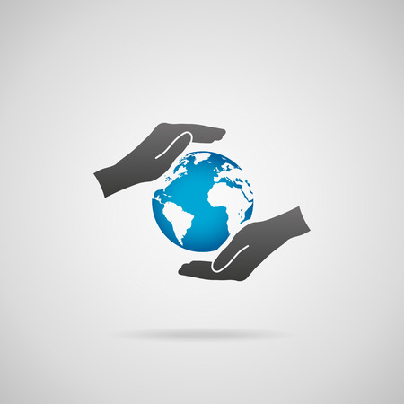protective: Protect planet Earth concept. Vector icon of hands in protective gesture and blue planet Earth. Illustration