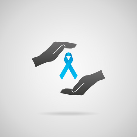 general practitioner: Prostate cancer prevention concept and genetic disorder awareness. Vector icon of hands in protective gesture and blue ribbon. Illustration