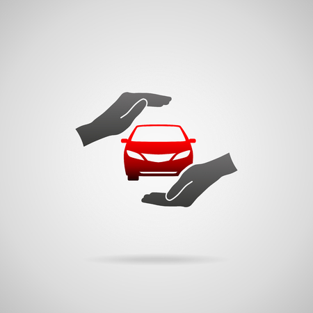 automobile insurance: Car (automobile) insurance and collision damage waiver concepts. Vector icon of car in hands in protective gesture.