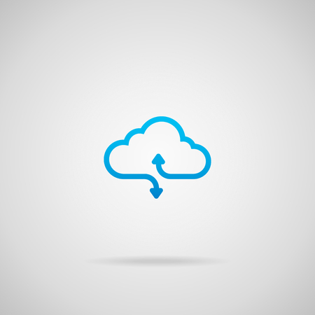 Cloud computing vector icon with arrows illustrating upload and download.