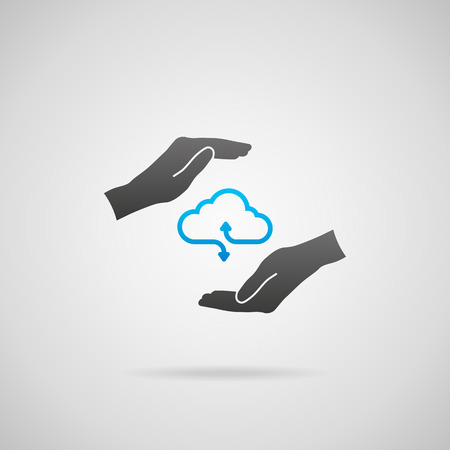 Cloud computing vector icon with arrows illustrating upload and download and hands with protective gesture (safety connection).