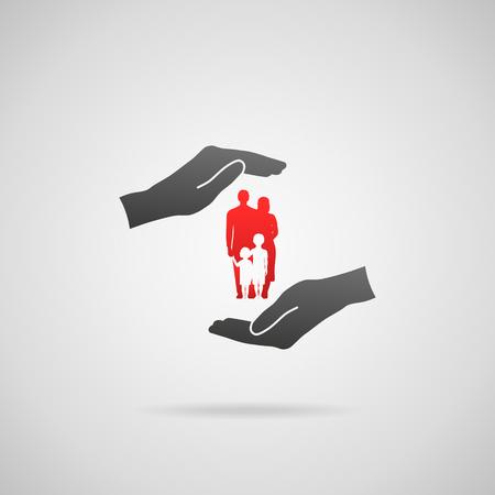 caja fuerte: Seguro de vida familiar, los servicios de la familia y el apoyo a las familias conceptos. Ilustración del icono de la familia joven en manos en gesto protector.