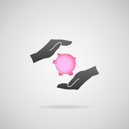 financial symbols: Protect your money (financial savings) and financial care (services) concept. Vector icon of piggy bank and hands in protective gesture.