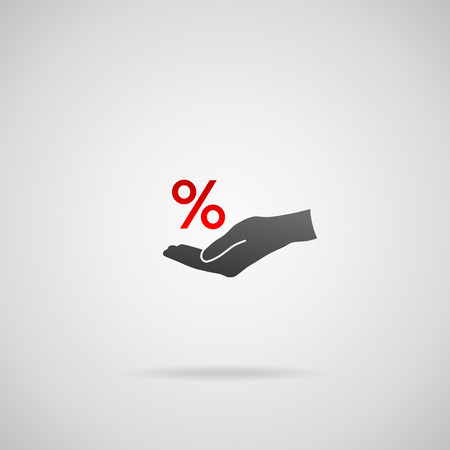 percentage sign: Discount and sale concept represented by percentage sign. Vector icon of percentage sign in hand.