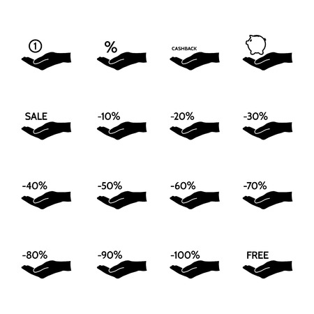 commission: Financial, discount, commission and sale set of vector icons. Illustration