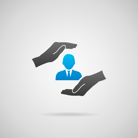 headhunter: Human resources (HR) protect male employee. Vector icon of man in hands with protective gesture.