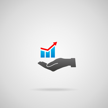 Business solution concept. Vector icon of growing graph in hand. Illustration