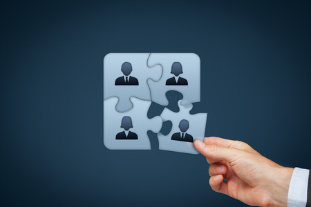 team cooperation: Assemble a team cencept. Business team, human resources cooperation, connection and unity concepts. Good team fit together like puzzle pieces. Stock Photo