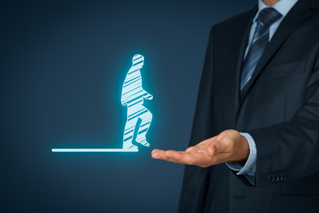 unknown men: Personal transfer and career - change employer. Customer service concept and human resources (HR) concept. CRM (or HR) staff helps employee (customer) with his problem represented by step into the unknown.