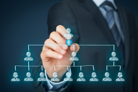 liderazgo empresarial: CEO, el liderazgo y el concepto de jerarquía corporativa - reclutador equipo completo por una persona líder (CEO). Foto de archivo