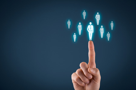 negative space: Human resources officer choose employee standing out of the crowd. Select team leader concept. Male hand click on man icon. Negative space in left side, blue background. Stock Photo