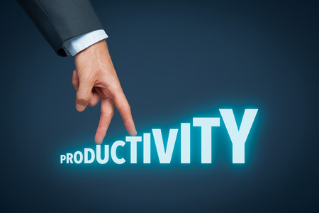 productivity: Increase personal or company productivity concept. Businessman represented by hand rise on increasing letters on word productivity.