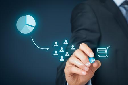 마케팅 전략 - 세분화, 타겟팅, 위치. 마케팅 전략 프로세스의 시각화.
