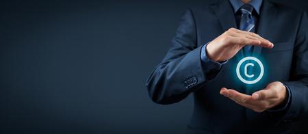La ley de propiedad intelectual y la protección de los derechos, los derechos de autor y las patentes concepto. Proteger las ideas de negocio y conceptos headhunter. Composición de la bandera de ancho. Foto de archivo - 46501309