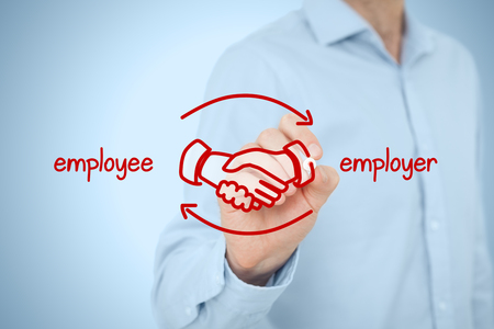 compensate: Employee and employer balanced cooperation concept. Businessman (human resources officer) draw scheme with hand shaking of employee and employer.