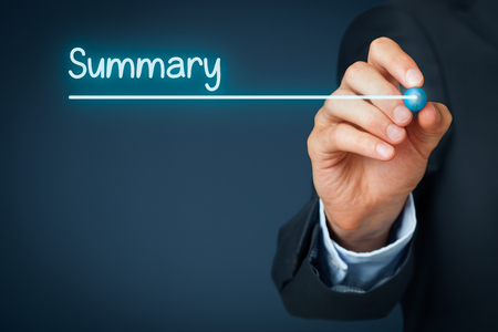 slide show: Summary heading - background template for business presentation.
