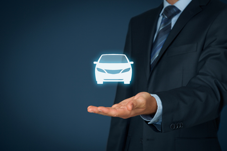 automobile: Car (automobile) insurance and collision damage waiver concepts. Businessman with giving gesture and icon of car. Stock Photo