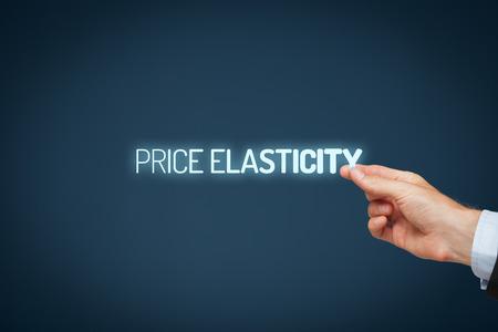 elasticity: Price elasticity concept. Photography illustrating price elasticity - businessman pull text price elasticity. Stock Photo