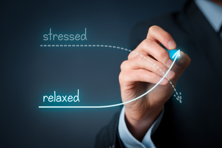 burnout: Stressed versus relaxed concept. Businessman plan to decrease his stress and increase his peace. Work-life balance, burnout prevention and mental healthcare concepts.