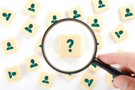 look for: Human resources, personal audit and assessment center concept - recruiter look for employee represented by icons. Stock Photo