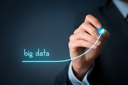 accelerated: Big data growth (bigdata) concept. Businessman draw accelerating line of data volume. Stock Photo